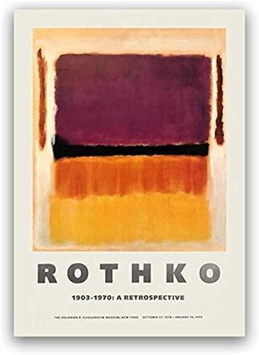 LangGe Nordischer Stil 40x60cm Rahmenlos Mark Rothko New York Guggenheim Museum Ausstellungsplakatdruck Abstrakter Wandkünstler Heimtextilien