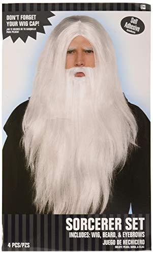 Amscan 843474 Long White Sorcerer Wig, Beard and Eyebrows, 1 Set