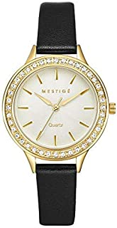 Mestige Sawyer Women's Gold Dial Leather Band Watch - MSWA3143