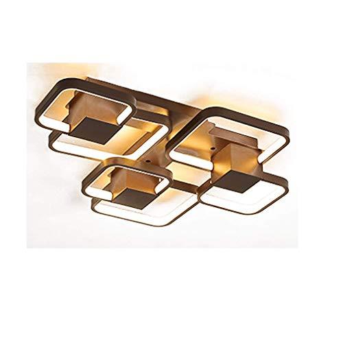 LED acryl plafondlamp, 6 spots, warm licht, moderne lamp, eenvoudige stijl, vierkant, bruin, ijzer, lamp voor lichaam, creatief licht, persoonlijkheid, restaurant, woonkamer, slaapkamer, design licht, 63 x 53 cm, 45 W