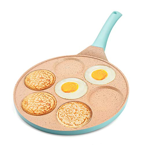 FRUITEAM Griddle Pan Pancake Pan Nonstick 10 Inch Pancake Maker Mini Pancake Mold Pan 7Cup Blini Pan Grill Pan for Kids Gifts Cake