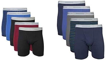 Gildan Men's Regular Leg Boxer Brief 5 Pack, Large, Mixed Blue/Grey Men's Regular Leg Boxer Brief 5 Pack, Large, Mixed Navy