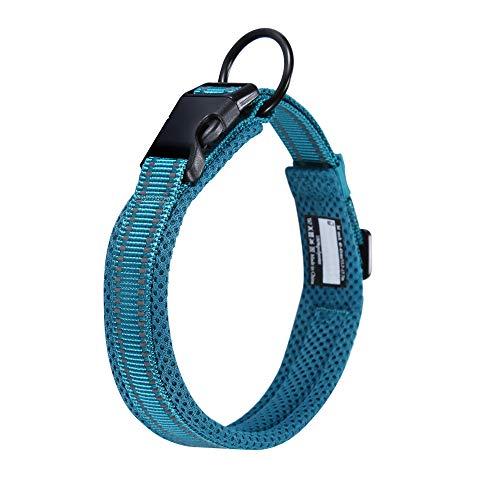 Kaka Mall Hundehalsband Verstellbare Nylon Hunde Halsband Atmungsaktives 3M Reflektierend Halsband(S,Blau)