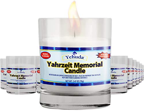 Yehuda, Yahrzeit Memorial Candle, Glass Tumbler (24 Pack) 24 Hour Memorial Candles, Perfect For Blackouts, Storms & Hurricanes