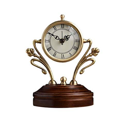 ZCZZ Reloj Despertador de Escritorio Reloj de Mesa de Cobre Americano Base de Madera Maciza Sala de Estar Batería silenciosa Moda Reloj Creativo de Madera Maciza Reloj Reloj de Cuarzo de Vidrio H