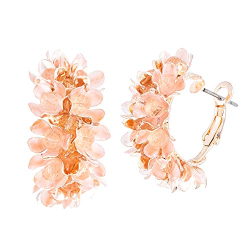 Wgoud Bohemian Style Rose Gold Plated Metal Flower Hoop Earrings - Lightweight Stylish Floral Hoops Earring Jewerly for Women Girls (Pink)