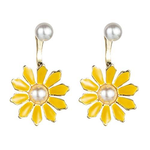 N/A Pendientes hipoalergénicos Ms Europa y América en estilo aretes de aleación con gota de aceite de flor incrustada de perlas pendientes de temperamento exquisitos pendientes con mujeres