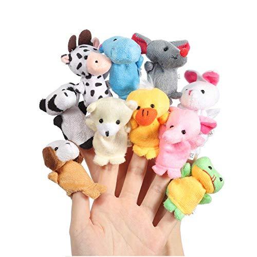 Lumanuby 10 pcs Dedo Juguetes Tiny Granja Suave Gamuza de marioneta de Dedo Juguete Animal de Peluche Juguetes para bebé