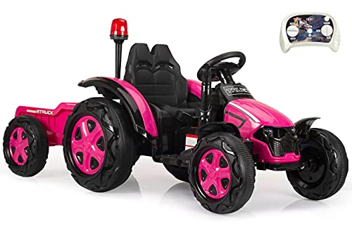Bobike Kids Electric Ride On Tractor with Detachable Trailer 35W Motors EVA Tire 12v Battery-Powered Toy Electric Car with Remote Gift for 3-8 Year Old /Dual Drive/Music/Horn/Light...