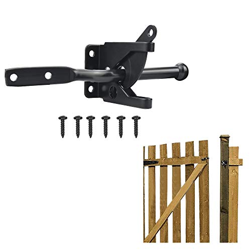 FAVENGO Stainless Steel Gate Latch Automatic Gravity Lever Fence Gate Lock Suffolk Latch Medium Auto Gate Catches Black Door Lock with M6 * 30 Scews for Wooden Gate Garden Gate and Fence Gate