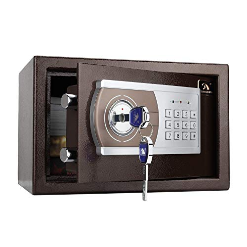 TIGERKING Personal Safe Security Digital Lock Box Key Combination Code Safe Box Steel Money Box Electronic Small Safes for Home, Office, Hotel