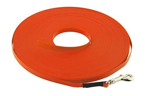 LENNIE Leichte BioThane Schleppleine, 9mm, Hunde bis 5kg, 10m lang, ohne Handschlaufe, Neon-Orange, genäht