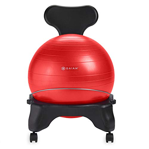 Gaiam Classic Balance Ball Chair – Exercise Stability Yoga Ball Premium Ergonomic Chair for Home...