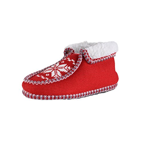 Camprella Damen Hausbooty, gemütliche Winter-Pantoffeln, Rot (39)