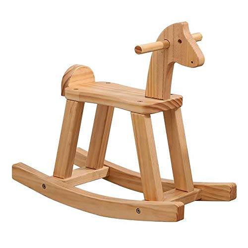 HYY Wooden rocking horse, cartoon horse head rocking horse, baby rocking horse, suitable for children aged 1 and above, comfortable and durable rocking horse, original color rocking horse