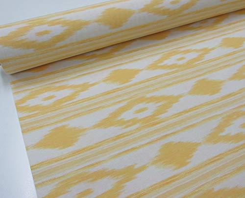 Confección Saymi Metraje 0,50 MTS Tejido loneta Estampada Ref. Mallorquina Amarillo, con Ancho 2,80 MTS.