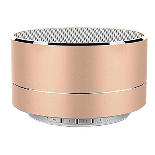 Portable Wireless Bluetooth Speaker with USB Cord,HD Sound and Bass for iPhone Ipad Android Smartphone (Gold)