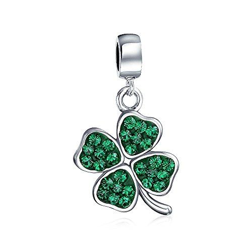 Celtic Suerte El Trébol Cristal Verde Hoja Clover Irlandés Colgante El Encanto...