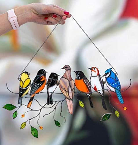 HXHAY Multicolor Birds On-A-Wire High Stained Glass Suncatcher Window Panel, Bird Series Art Ornaments Pendant Home Decoration, Gifts for Bird Lover (#7 birds)