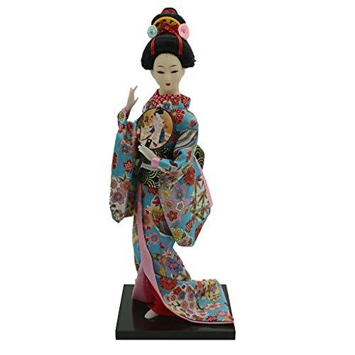 IPOTCH 12 Pulgadas Vintage Kimono Japonés Geisha Muñeca Figura Floral Ropa Decoración para Hogar - Multicolor