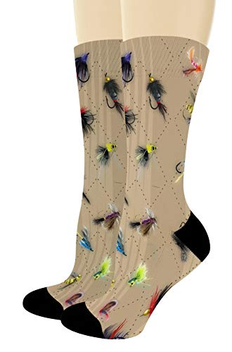 Fishing Gifts for Men and Women Fly Fishing Accessories Fish Print Socks 1-Pair Novelty Crew Socks