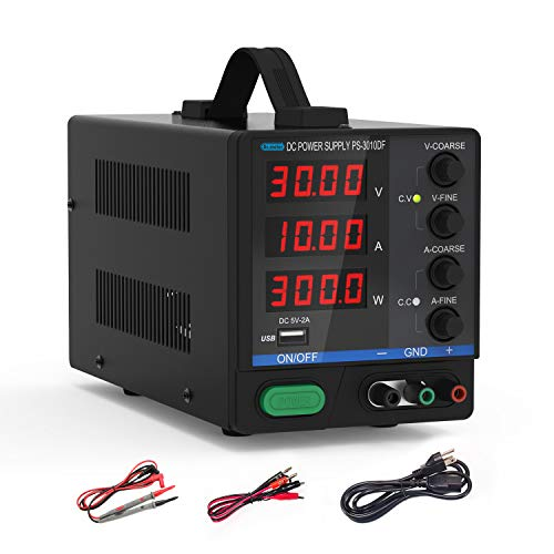 Dr.meter DC Power Supply, 30V/10A Multifunctional and Switching DC Regulated Power Supply with 4-Digits LED Display