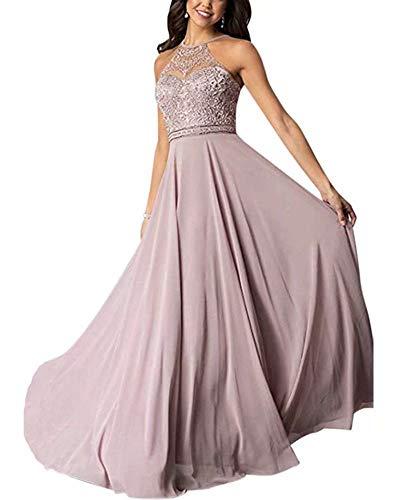Aurora dresses Damen Abendkleider Chiffon Spitze Ballkleid Elegant für Hochzeit Lang Brautjungfernkleider(Mauve,40)