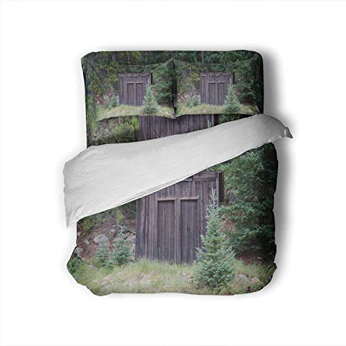 C COABALLA A Two Seater Outhouse in The Town of St.Elmo,Full Size Cotton Sateen Sheet Set - 4 Piece - Supersoft was Probably Precursor to Public restrooms! Full