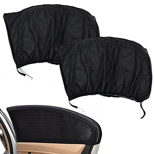 Parasol de Coche Sombrillas para Ventanas Lateral y Trasera de Coche Máxima Protección contra Rayos UVA y el Calor, Pack de 2 Unidades, Negro