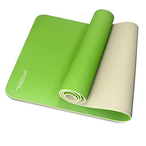 arteesol Colchoneta de ejercicios - Colchoneta de yoga antideslizante TPE de alta densidad para yoga, pilates y gimnasia Verde