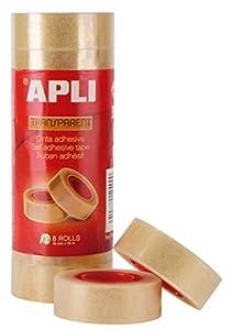APLI 12490 - Cinta adhesiva celo transparente 19 mm x 33 m, 8 unidades
