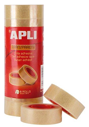 APLI 12490 - Cinta adhesiva celo transparente 19 mm x 33 m,