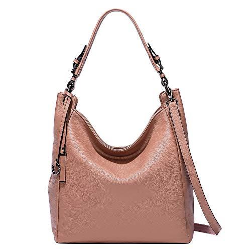 ALTOSY Damen Leder Handtasche Groß Schultertasche Hobo Bag Tasche Umhängetasche Henkeltaschen Tote Bag (S100, Lachsfarbe)