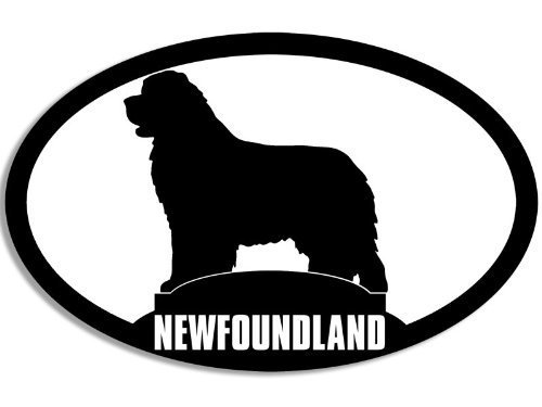 LPF USA Magnet Oval Newfoundland Silhouette Magnetic Sticker (Dog Breed Decal)
