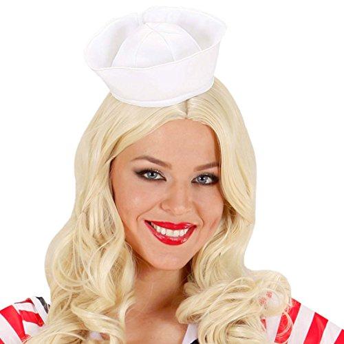 Amakando Mini Matrosenmütze Matrosenhut weiß Minihut Seemann Kleine Matrosen Mütze Hut Matrosin Kopfbedeckung Sailor Seemannshut