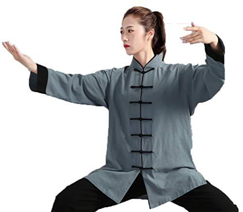 Tenue De Vêtements De Tai Chi Kung Fu Et Qi Gong Homme en Coton Et Lin Unisexe Costume Deux Pièces Vert Noir 3XL