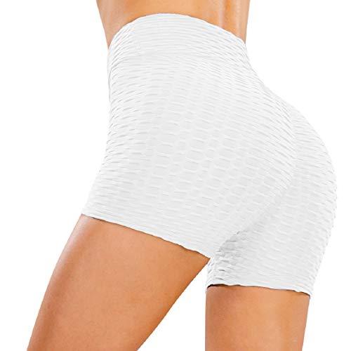 CMTOP Cortos Leggings Mujer Mallas Yoga Alta Cintura Gimnasio Correr Pantalones Cortos Verano Leggings por Encima de la Rodilla Push Up Pantalones Deporte de Entrenamiento (Blanco, M)