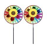 Toyvian 2 Unids Molino de Viento De Plástico Molinillo de Sol Flor Giratoria Molino de Viento Molino de Viento Al Aire Libre Juguete de Regalo para Niños Niñas niños