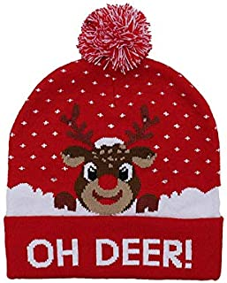 SODIAL Colorful Glowing Knitting Designs LED Christmas Hats Beanie Sweater Christmas Santa Hat Light Up Knitted Hat for Kid Adult for Christmas Party Letter Deer