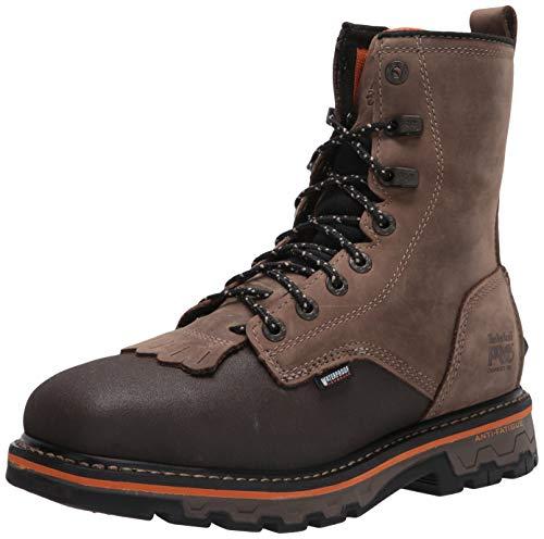 Timberland PRO Men's True Grit 8 Inch Composite Safety Toe Side-Zip Waterproof Western Work Boot, Brown Turkish Coffee, 10 Wide