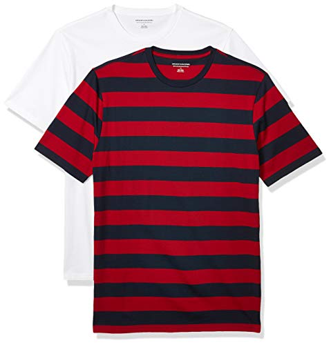 Amazon Essentials Men's 2-Pack Slim-Fit Crewneck T-Shirt Shirt, -Red and Navy Rugby Stripe/White, X-Large