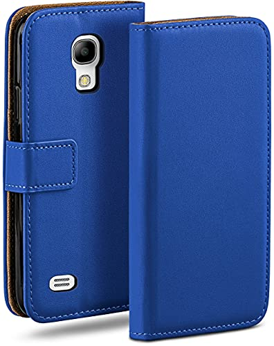 moex Klapphülle kompatibel mit Samsung Galaxy S4 Mini Hülle klappbar, Handyhülle mit Kartenfach, 360 Grad Flip Hülle, Vegan Leder Handytasche, Blau