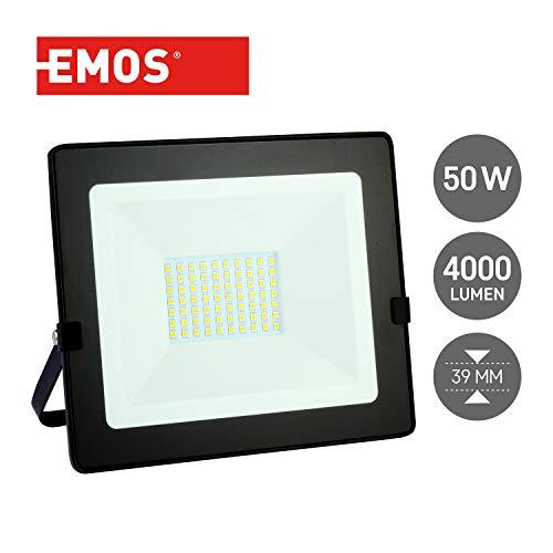 Emos LED Strahler Flutlicht 50W / 4000 Lumen Scheinwerfer, Baustrahler, neutralweiß 4000k, Wandfluter, für Außenbetrieb staub- und wasserdicht Schutzklasse IP65, schwarz