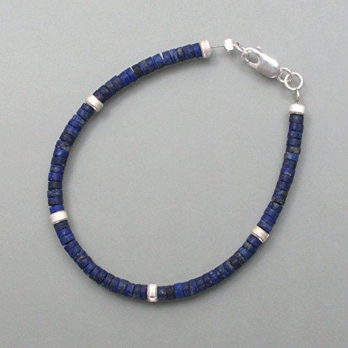 Pulsera de lapislázuli con elementos plateados