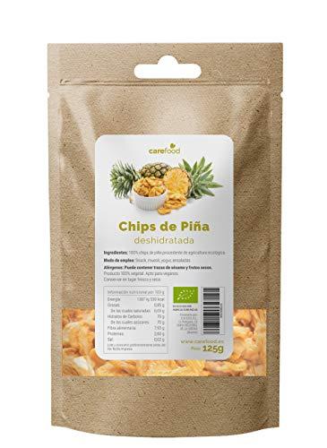 Piña deshidratada ecológica 125gr Carefood | 100% natural BIO sin azúcar añadidos | Chips de piña - snack natural y sano |