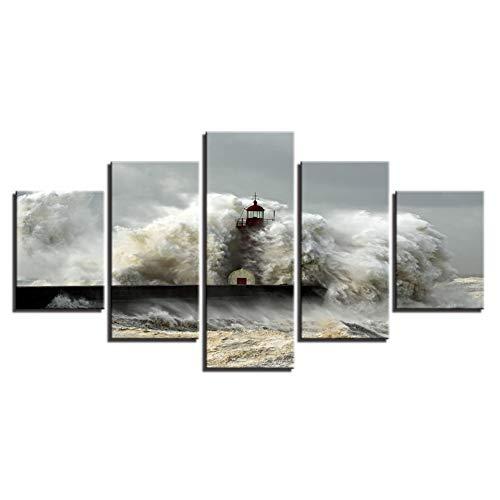 ZRTLAT 150×80cm Lienzo de Pintura Lienzo Arte de la Pared Imágenes Decoración de la Sala de Estar 5 Piezas Impactos de la Ola del mar El Faro Paisaje Marino Pintura HD Impresiones Cartel