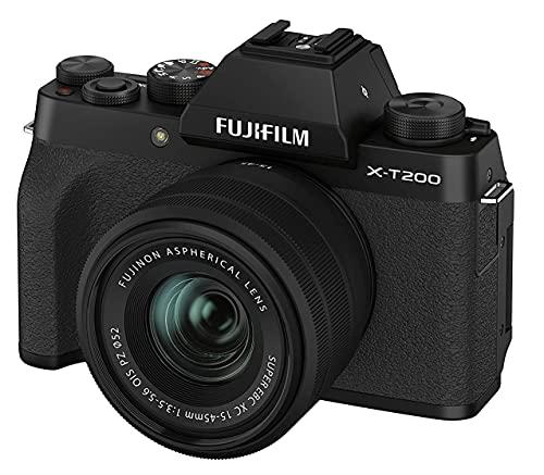 Fujifilm X-T200 Fotocamera Digitale Mirrorless 24MP con Obbiettivo XC15-45mmF3.5-5.6 OIS PZ, Mirino EVF, Schermo LCD Touch da 3,5' Vari-Angle, Filmati 4K, Nero