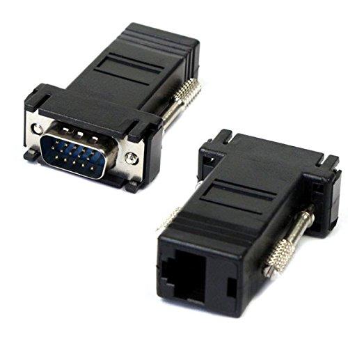 VGA-verlengkabel van JSER met stekker naar LAN-, Cat5-, CAT45-, Ethernet-aansluitingen, 2 stuks