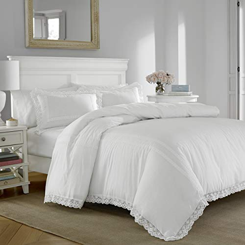 Laura Ashley Home | Annabella Collection | Luxury Ultra Soft Comforter, All Season Premium 3 Piece Bedding Set, Stylish Delicate Design for Home Décor, King, White,USHSA51074020,2