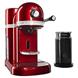 KitchenAid Candy Apple Red Aeroccino Milk Frother Nespresso Espresso Maker, 1.3 L